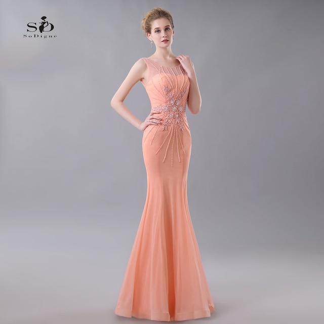 Prom Graduation Dresses Coral Mermaid Party Dresses Lace Appliques