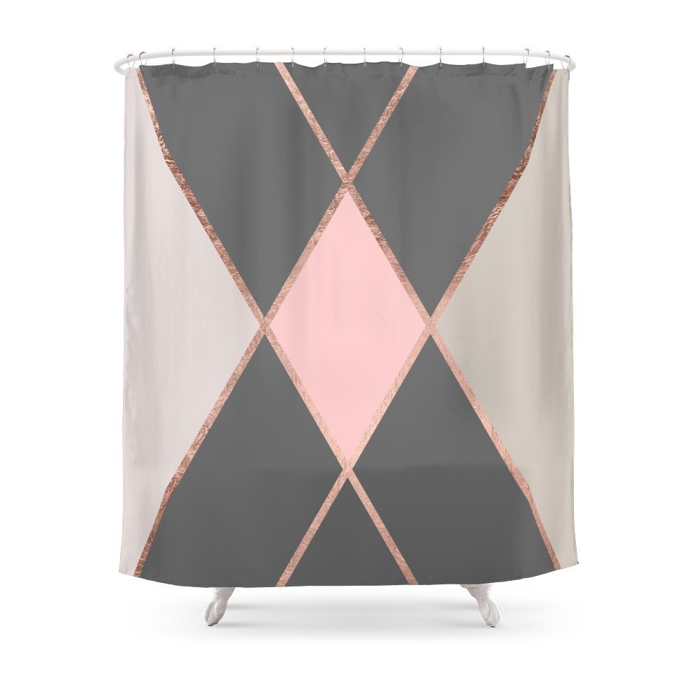 Modern Pastel Pink Gray Color Block Rose Gold Stripes Shower