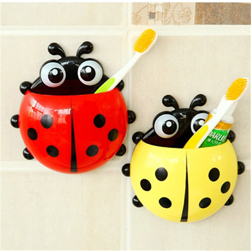 Cartoon Sucker Toothbrush Holder Plastic Wall Suction Sucker Fashion Ladybug Toothbrush Hooks Yellow For Bathroom Accessories image