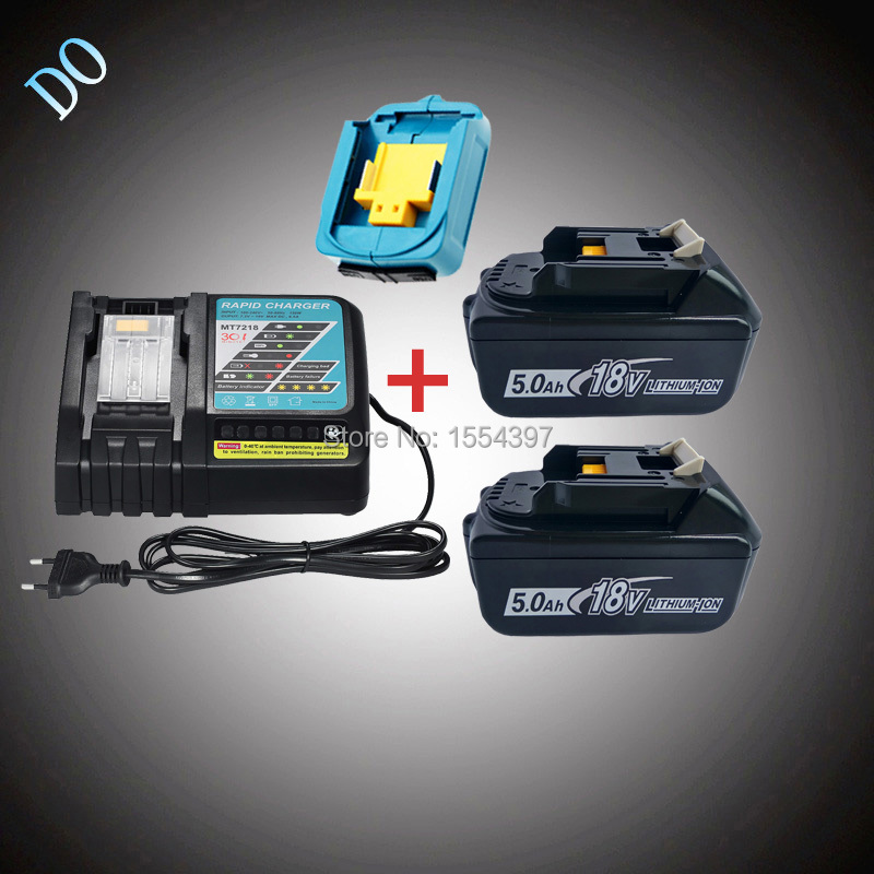 2PCS 18V 5000mAh Rechargeable Li-ion BL1850 with Power Tool Battery Charger USB Adapter Replacement for Makita 18V BL1840 LXT400 eleoption 18v 2000mah li ion 2 pcs replacement power tool battery for makita 194205 3 194309 1 bl1815 7 2v 18v charger