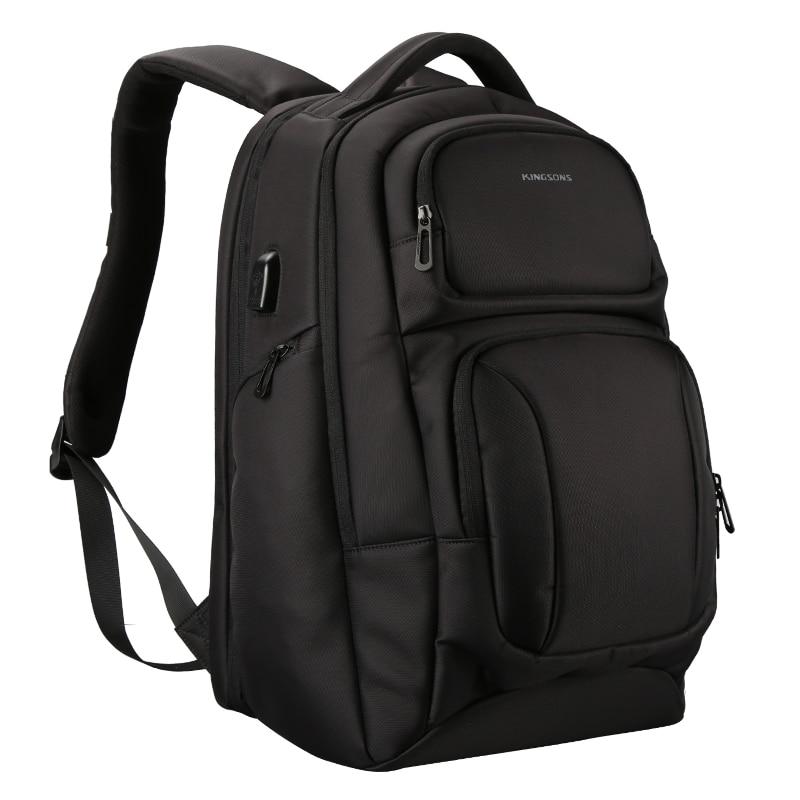 ABDB-Kingsons Mens USB Charging Backpack Anti Theft Shoulder Bags Laptop Backpacks Travel Bag Male Casual