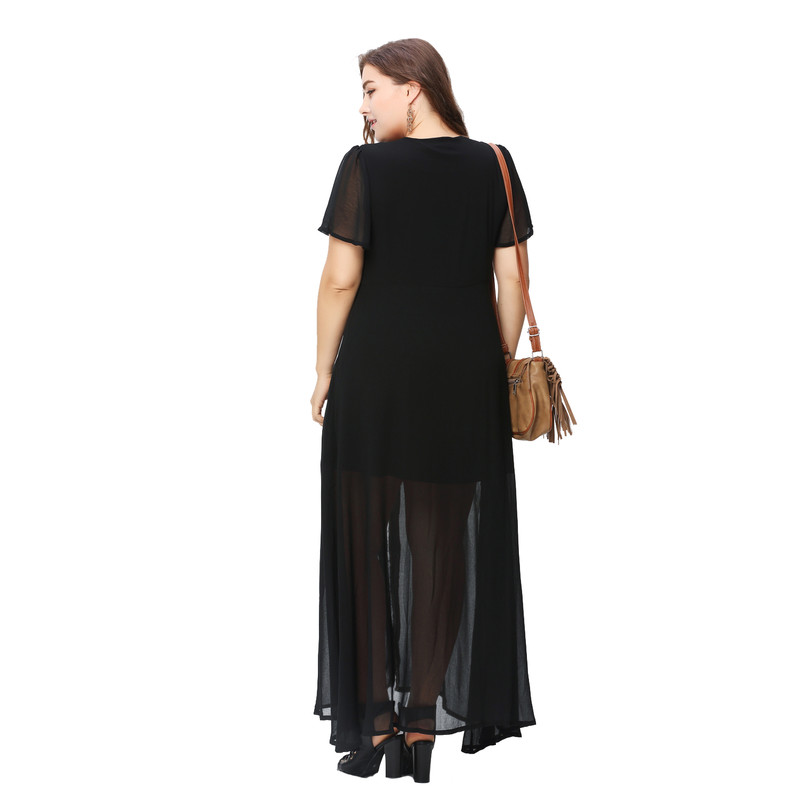 plus size summer western style fashion loose patchwork lace short sleeve  Large Size 3XL 6XL woman s Casual long dress-in Dresses from Women s  Clothing ... b012b6e13f10