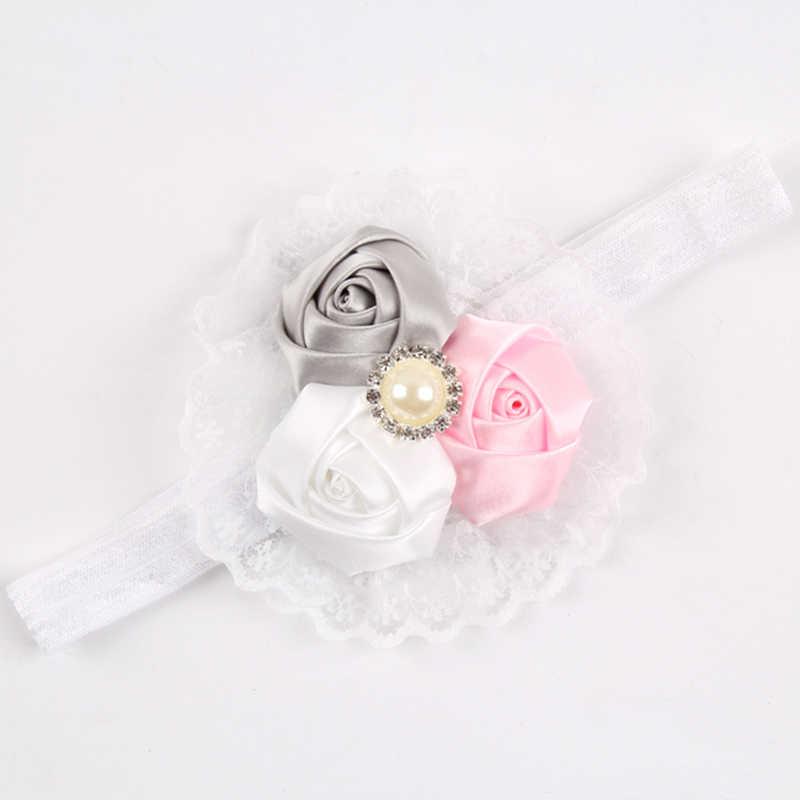1 p. Nouveau-né bébé chapeaux enfants fleur bandeau rose dentelle cheveux bandes fille feutre fleur écharpe enfants cheveux accessoires w-033