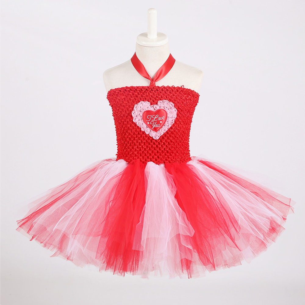 Red White Queen of Hearts Fancy Dress Costume Valentine\`s Day Knee Length Heart Pattern Tutu Dress Princess Dress for Girls 1-14 (2)