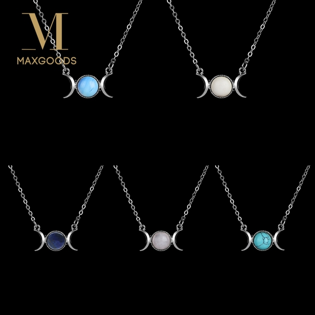 Fashion Crescent Moon&Sun Pendant Choker Necklace Vintage Silver Color Chain Crystal Sailor Natural Stone Opal Necklace Jewelry