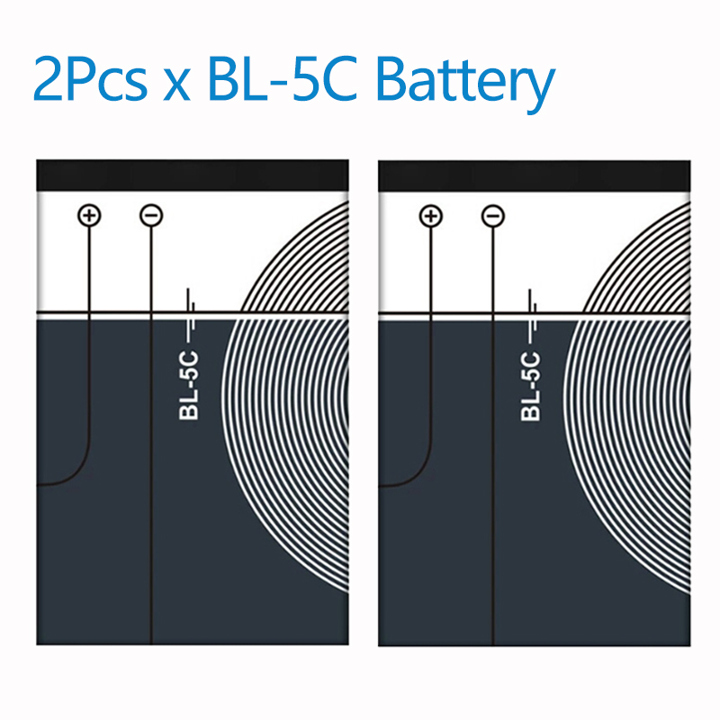 2Pcs x 1020mAh BL5C BL 5C BL-5C Battery Batteries for <font><b>Nokia</b></font> 1112 <font><b>1208</b></font> 1600 2610 2600 n70 n71 image