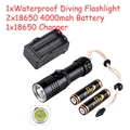 2000Lm CREE XM-L2 LED Waterproof Scuba Diving Flashlight Underwater Submarine Light Lamp Torch 18650 Rechargeable Torch Light
