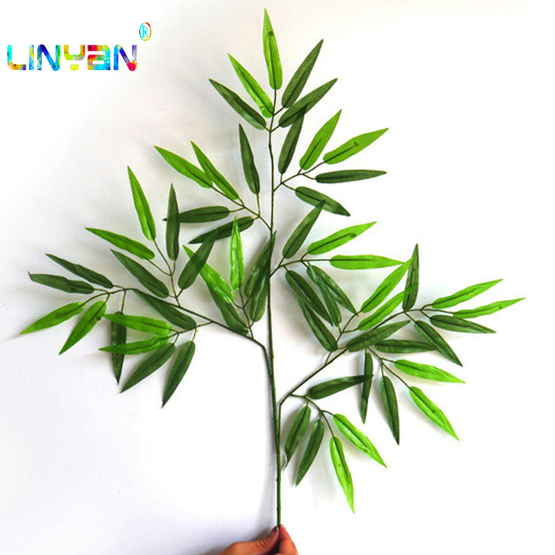 12pcs Artificial Bamboo Leaf Plants Plastic Tree Branches