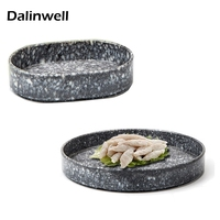 Melamine Marble Buffet Barbecue Ellipse Dish Cutlery Imitation Ceramic Serving Tableware Kitchen Food Storage For Dining