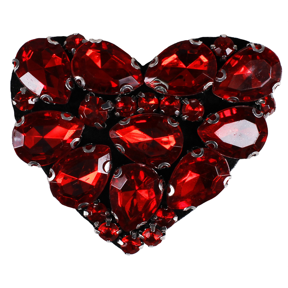 2pieces DIY Red Heart Applique Rhinestones Motif Patches for Clothes Shoes Bags Decorated Sewing Apparel Supplies TH759