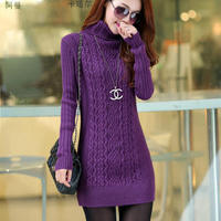 Autumn and winter the new high-necked women in the long section of hedging primer shirt Slim twist knitting thickening sweater