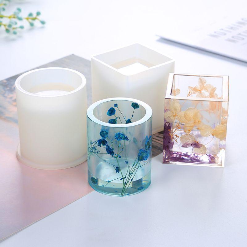 Molde de silicone resina cola epoxy diy caneta recipiente organizador quadrado redondo titular de armazenamento moldes de sílica artesanato jóias fazendo encantos