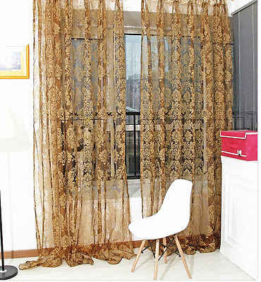 Luxurious Flower colorful Tulle Voile Door Window Curtain Drape Panel Sheer Scarf Valance Excellent
