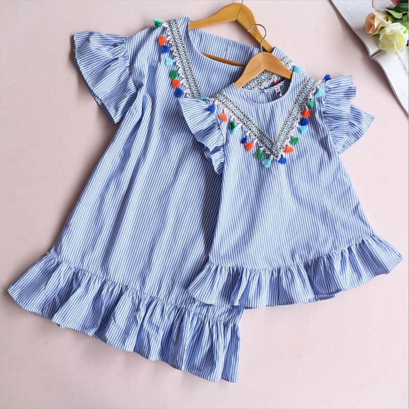 Nouveau-né bébé fille famille correspondant vêtements maman et fille robe neuf quart rayure gland Mini mère et fille tenues 3