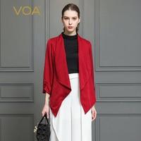Voa шёлковый жаккардовый красный кардиган для женщин пальто куртка офисная верхняя одежда повседневная женская B2017