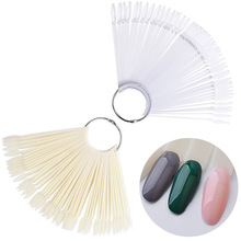 hot deal buy 50 pcs /set nail art tips display practice fan round head nail polish swatches nail color sample nail art tools