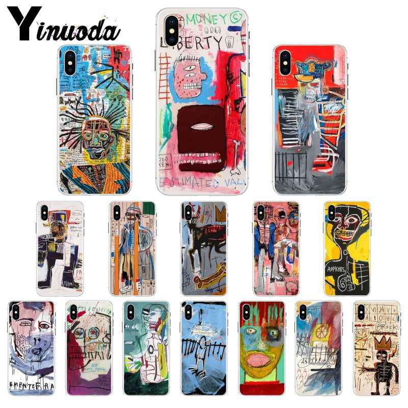 Yinuoda Jean Michel Basquiat Art Graffiti Smart Cover Transparent Soft Phone Case for iPhone 8 7 6 6S Plus X XS MAX 5 5S SE XR