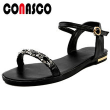 CONASCO Genuine Leather Sexy Sandals Women Square Low Heels Crystal Decoration Basic Buckle Strap Sandals Summer Shoes Woman(China)