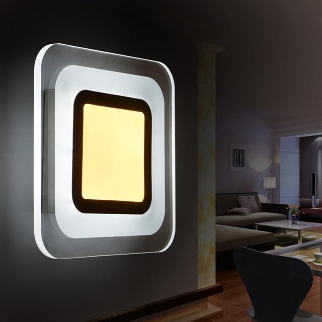Spiegel Treppen kreative quadrat acryl wc spiegel led wandleuchte schlafzimmer nacht