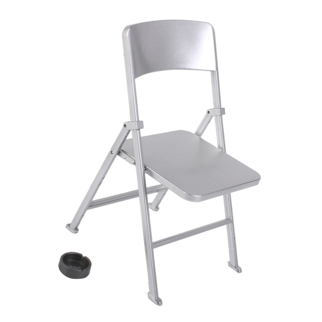 1/6 Scale Mini Folding Chair with Ashtray for Dolls Action Figures Silver