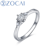 2015 New Arrival ZOCAI 3 Stone Diamond 0 28 Ct Certified Diamond Engagement Ring 18K White