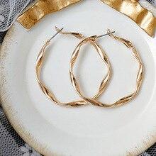 Bing Tu, золотые, серебряные, цветные круглые серьги-кольца для женщин, большие круглые серьги-петли, витые серьги геометрической формы, металлические ювелирные изделия