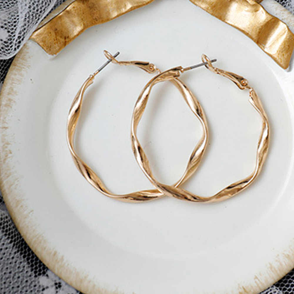 Bing Tu Gold Silver Color Round Hoop Earrings For Women Big Circle Loop Earring Twisted Geometric Earings Metal Jewellery