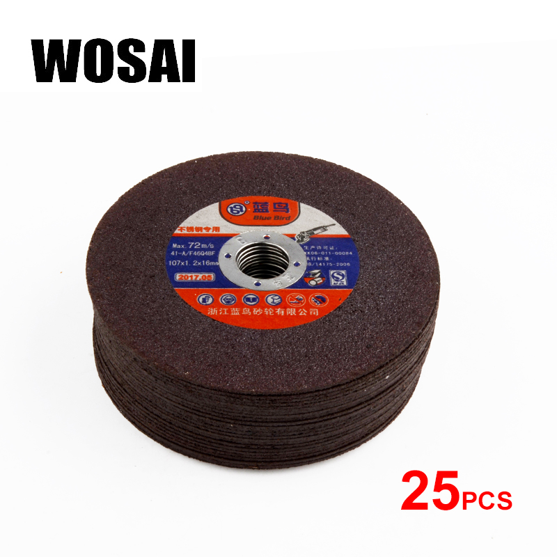 WOSAI 25pcs 107mm Grinding Wheel Fiber Reinforced Resin Cutting Disc Grinding Wheel Blade Metal Saw Blade Angle grinder Tool 100 resin grinding wheel piece metal cutting type angle grinder using