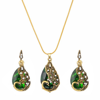 MINHIN European Retro Ethnic Crystal Gem Peacock Charms Necklace Earrings Set