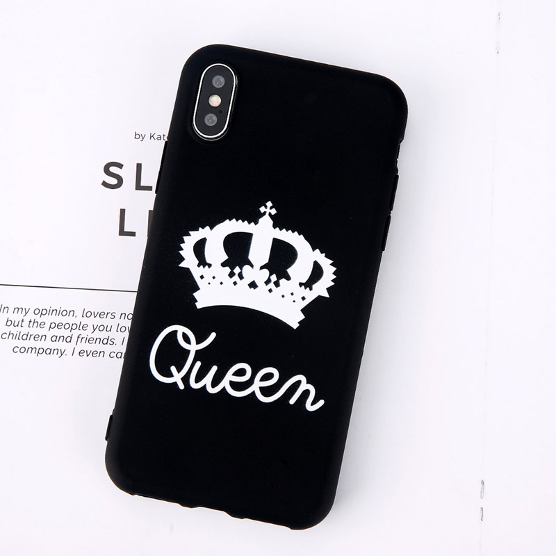 King Queen Crown Phone Case For iphone XR XS Max X 8 7 6 6s Plus Case Fashion Stylish Soft TPU Cover For iphone 5 5s SE Silicon (6)