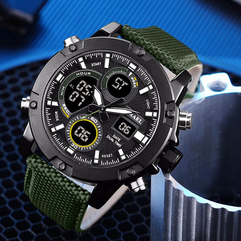 Mode grand cadran montre analogique LCD affichage numérique en plein air hommes Sport Quartz mouvement Date chronomètre rétro-éclairage Nylon bande montres