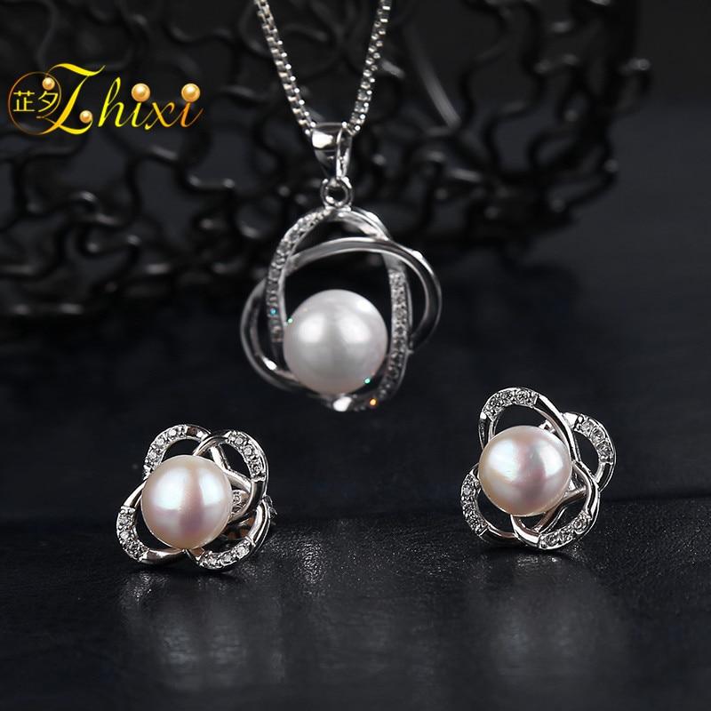 ZHIXI Perla Gioielli Da Sposa Set Gioielli Grande Collana di Perle Naturali di Acqua Dolce Orecchini di Pendente Per Le Donne del Regalo Croce T202
