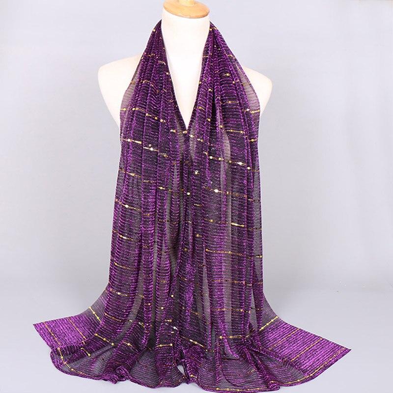 Plain Lurex Glitter Diamond Thin Scarf Ladies Fashion Shimmer Shawls and Wraps Pashmina Stole Muslim Hijab Bonnet Caps 180*65Cm