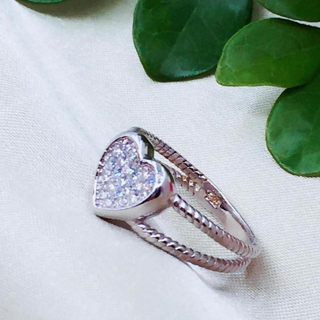 925 Sterling Silver Love Heart White Gold Color 2
