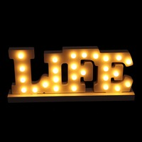 OOTDTY 1PC Wooden LIFE Letter Warm LED Light Up Decoration Lamp Wedding Party Display Ornament