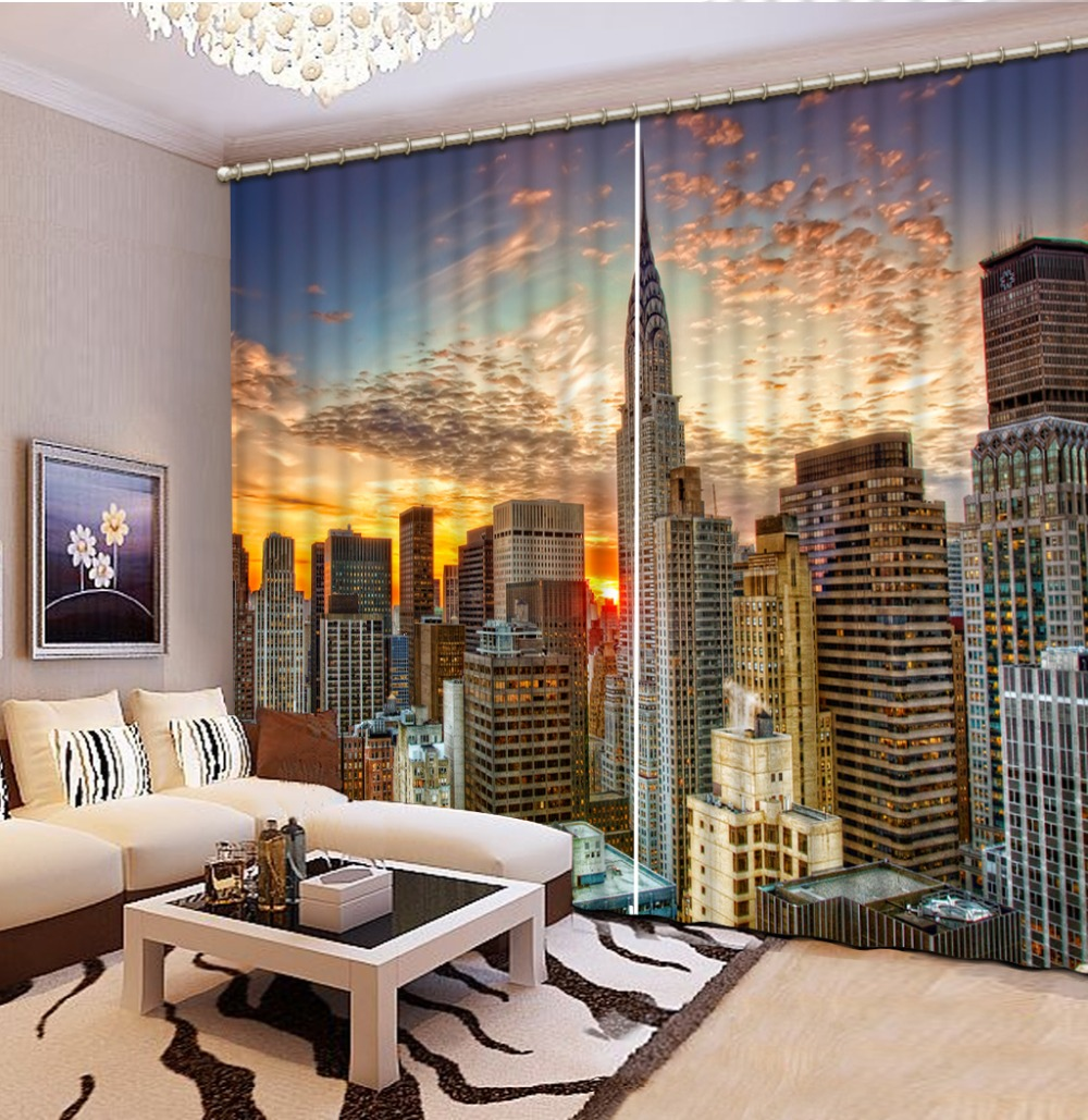 Home Decor Decoration 3D Curtain Sunset High Rise City