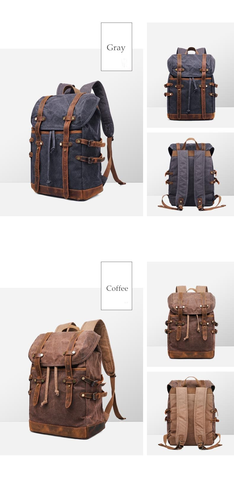 Rostock canvas & leather Vintage Style bag