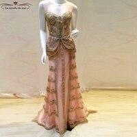 Vestido de festa longo de luxo 2018 new lace crystal gold pink sexy mermaid turkish evening gowns real photo arabic evening gown