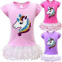 Baby Girls Unicorn Party Sequins dress 2019 New Kids Lace Children Fashion Soft Cute  hoodie