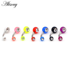 Alisouy 1PC Piercing Navel Surgical Steel Single Crystal Rhinestone Belly Button Rings Navel Piercing Ombligo 5mm Ball Nombril(China)