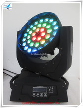 led zoom moving head light 36x18w rgbwa uv 6in1 circle dmx 512 led wash moving head stage dj disco light with road case