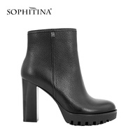 SOPHITINA Ankle Boots Super High Square Heel Platform Solid Boots Retro Genuine Leather Round Toe Sexy Party Warm Lady   Shoes   B13
