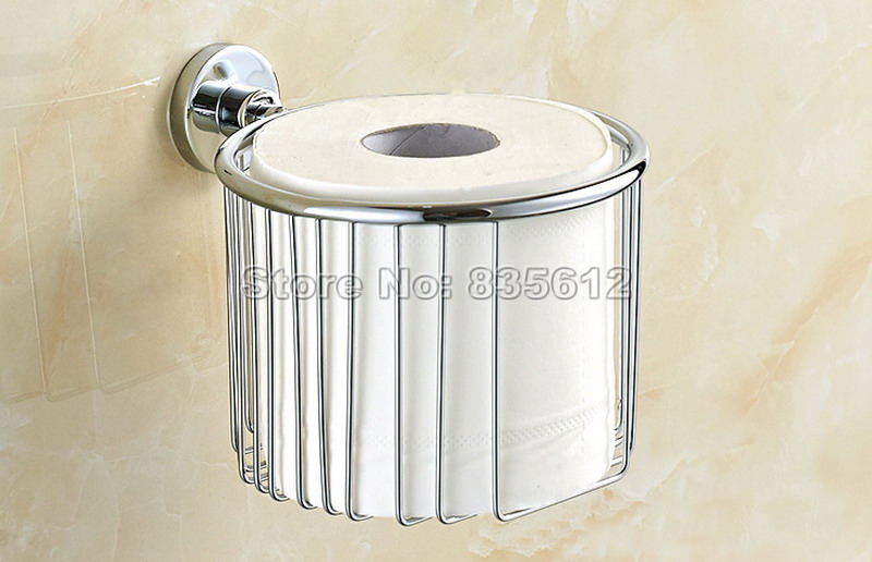 Bathroom Accessories Wall Mounted Polished Toilet Paper Roll Holder Basket Chrome Finish Wba519 yanjun toilet anti drop paper jumbo roll holder wall mounted paper towel dispenser bathroom accessories yj 8607