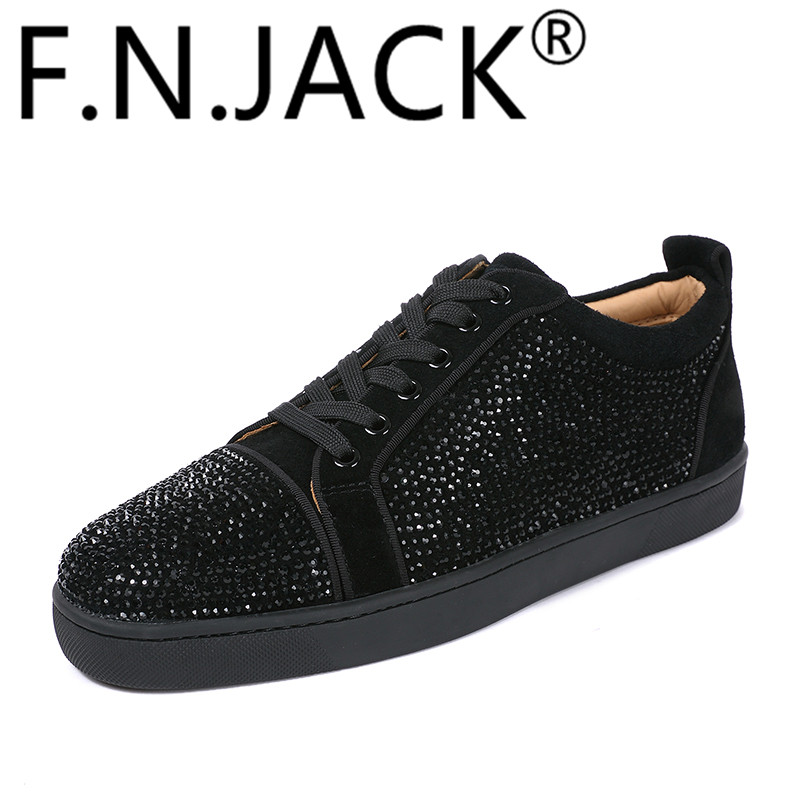 FNJACK Fashion Schuhe Authentic Black Suede & Strass Swarovski Louis - Herrenschuhe