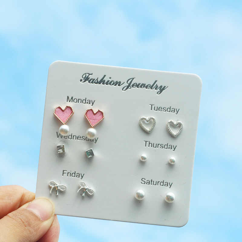 New fashion personality ear stud pink heart heart bowknot square feather week 6 sets of ear stud jewelry wholesale
