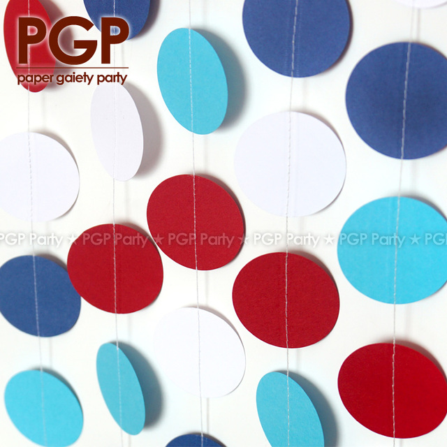 Pgp Red White Navy Paper Circle Garland Circus 4th Of July