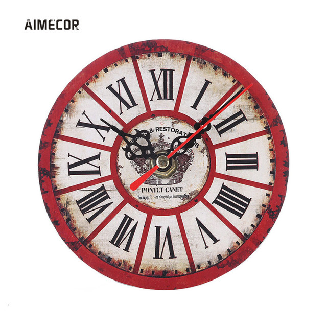 Aimecor Vintage Non-Ticking Silent Antique Wood Clock Kitchen Office Living Room Diy Watch 1PC