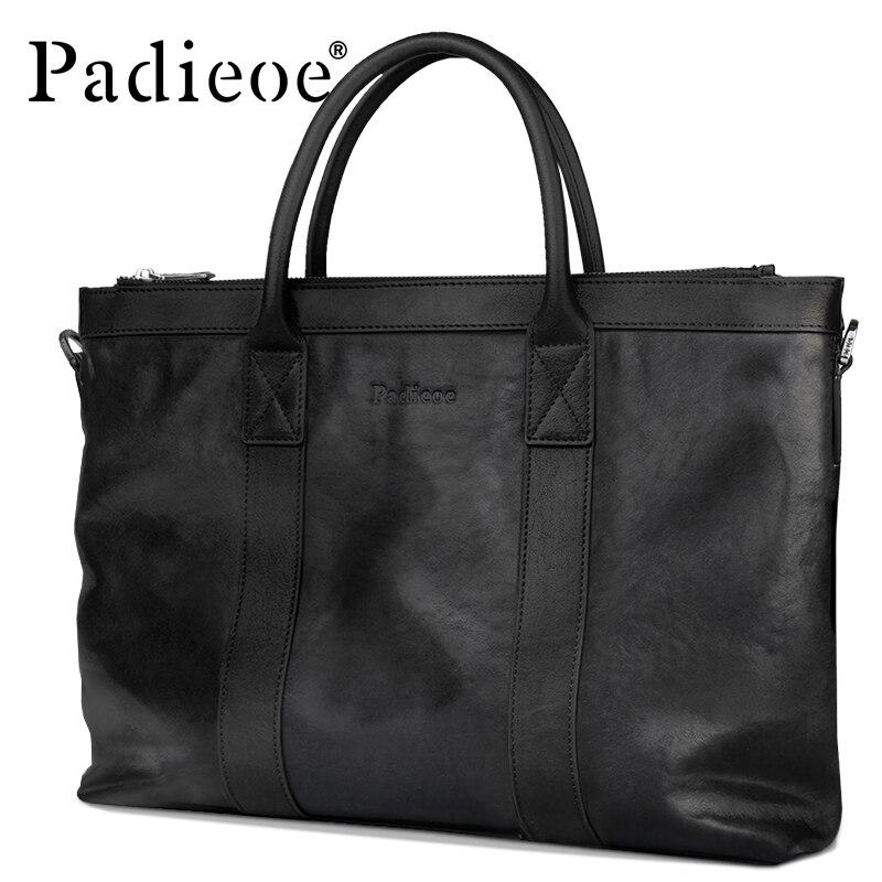 LiebenswüRdig Padieoe Neue Ankunft Luxus Herren Portfolio Top Echtes Kuh Leder Aktentasche Für Männer Große Kapazität Männer Tote Tasche Laptop Tasche Herrentaschen