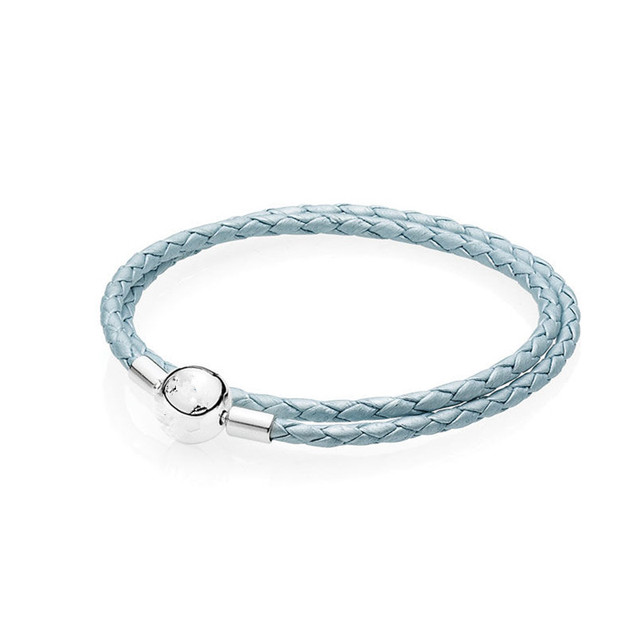 New light Blue leather bracelets for women jewelry without charm fit beads charms DIY with 925 sterling silver clasp clip PL008