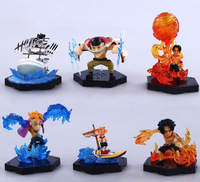 6pcs Set One Piece Ace Edward Newgate Marco Anime Collectible Action Figures PVC Collection Toys For